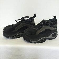 90s Sketchers Black Platform Leather Suede Sneakers Retro Shoes Club Raver Vtg 7