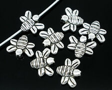 50 BEAUTIFUL HIGH QUALITY SILVER PLATED METAL BEE BEADS 14MM X 12MM