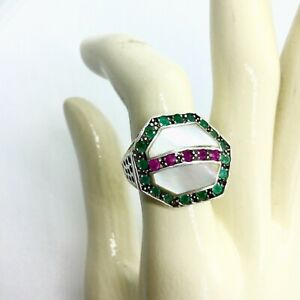VINTAGE ESTATE EMERALD RUBY 925 STERLING SILVER GEOMETRIC MODERNIST RING