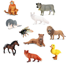 Lion Foxes Family Figure Duck Wild Animal Model Collector Decor Kids Toy Gifts