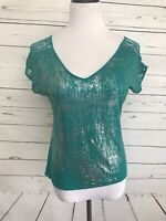 Daytrip Small Women's Top Green Metallic Tee Short Sleeves Blouse