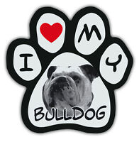 Picture Paws | Dog Paw Shaped Magnets: I LOVE MY BULLDOG | Car Magnet