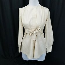 Vintage Joyce Ewing Bradley Motherhood Tan Striped Maternity Belted Blouse Shirt
