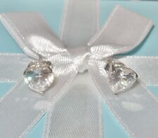 STERLING SILVER HEART STUD EARRINGS PIERCED STUDS DIAMONIQUE CUBIC ZIRCONIA  QVC