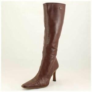 Buffalo Stiefel Gr. 39 High Heels Lederstiefel dunkelbraun m. Ziernähten (#1988)