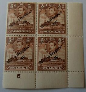 Malta 1938 - KGVI - Block of 4 mint stamps Optd: Self Government - MM