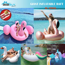 Giant Inflatable Flamingo Pool Swimming Float Raft  Lounge Toy Bed