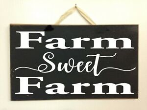 Farm Sweet Farm sign wood farmhouse style 7 x 11 inches door hanger farmer gift