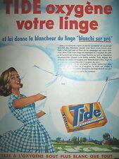 PUBLICITE DE PRESSE TIDE LESSIVE OXIGENE VOTRE LINGE FRENCH AD 1960
