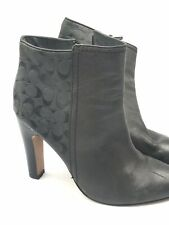 Dark Grey Coach Boots Women's Heels Leather Suede Coach Logo Size 7.5