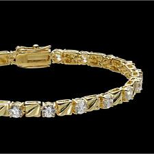 Femme Bracelet de tennis 4 mm zirconium blanc vrai plaqué or 750 18 carats B1465