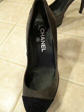 CHANEL Glitter Platform Pumps Grey & Black Cap Toe Heels (Size 37/ 6.5 US)