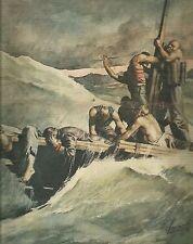 K0559 La zattera della morte con i naufraghi del Drakon - Stampa antica
