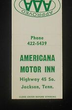 1960s Americana Motor Inn Highway 45 Jackson TN Madison Co Matchbook Tennessee