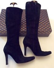 PATRICK COX BLACK SUEDE KNEE LENGTH BOOTS SIZE 5/38