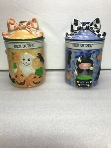 2 Panware 3D Ceramic Witches Brew & Ghost With Pumpkins Canister Jars with Lids.