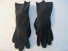Vintage Black Kid Suede Leather Gloves Unlined Size 6.5