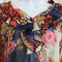 PURE ENERGY  Sheer Floral Blouse sz 2 (XL/XXL) Pink, Red, Navy, Cream