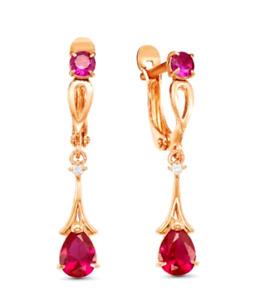 Ruby Corundum 14k Rose Gold Filled 30mm Long Dangle Earrings Russian