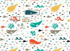 Ocean white whale octopus fish sea water 100% Cotton Printed Fabric arrival