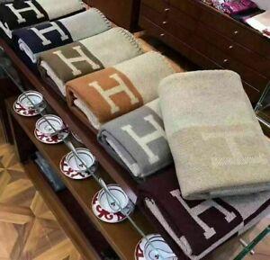 Throw Blanket Cashmere Monogram H Blanket Home Decor Gifts Decor Blanket