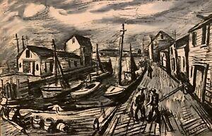GERRIT HONDIUS 20th c. American Social Realist WPA Artist PROVINCETOWN DOCKS MA