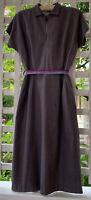 Vintage 50's Lavender & Grey Striped Rayon Day Dress- Size S-Rockabilly /Vintage