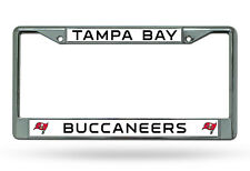 NFL Tampa Bay Buccaneers Chrome License Plate Frame Thin Black Letters