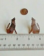 Howling Coyotes Wolves Earrings Studs Moon Wild 925 Markd Sterling 6.1g Artisan