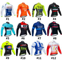 Men Long Sleeve Cycling Jersey Thermal Top Bike Road Jacket with Rear Pockets