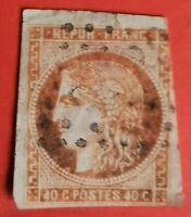 Timbre (-TB 699-10) EMISS DE BORDEAUX N° 48 Variété Brun-orange OBLIT Cote 250 €