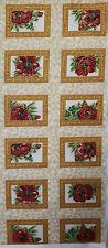Coupon tissu motifs fleurs rouge vignette dorée patchwork