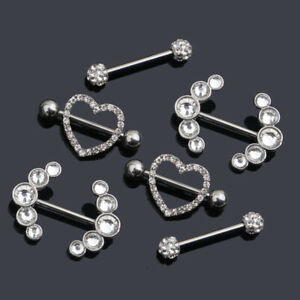 Crystal Nipple Shield Ring Surgical Steel Dangle bars  Body Piercing Jewelry