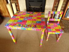 Childrens Kids Wooden Table and Chair. ABC Decoupage .Nursery Sets