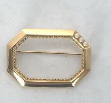 Vintage Signed Monet Gold Tone & Faux Pearl Brooch Pin 1980's