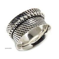 Solid 925 Sterling Silver Spinner Ring Meditation ring statement ring Size sr926