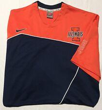 96567190d6d Nike Elite Illinois Fighting Illini Orange Blue Basketball Shooting Shirt  Mens L
