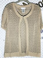 Beige Large 12/14 Sweater Cardigan Open Front