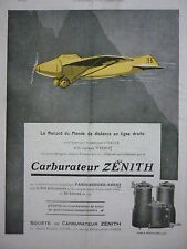 10/26 PUB CARBURATEUR ZENITH AVION BREGUET MOTEUR FARMAN RECORD CHALLE WEISER AD