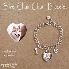 Siberian Husky Dog Red - Charm Bracelet Silver Chain & Heart
