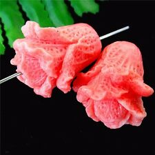 2Pcs Beautiful Nice Pink Tridacna Carved Flower Pendant Bead 28*25*23mm HH289
