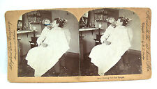 1897 Keystone Stereoview Card - Getting Her Hair Banged  Lady at the Barber Shop