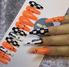Orange Smile False Fake Extra Long Ballerina Nails Set