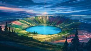 """Crater 22""""x36"""" Canvas Art Poster Decor Wall Prints Card Tube Packing"""