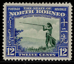 NORTH BORNEO GVI SG310, 12c green & royal blue, M MINT. Cat £50.