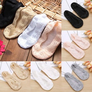 1 Pair Boat Socks Sock Ankle Socks Invisible Lace Cotton Silicone Girl Non-slip