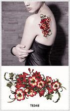 Red Flower Tattoo Sticker DIY Keep 3-5 days Waterproof 9x17cm TE048