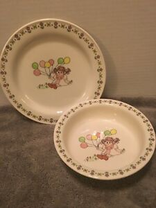 Lefton Childs Set Bowl & Plate Girl With Balloons 05619