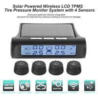 Wireless Solar TPMS Car Tire Pressure LCD Monitoring System w/4 External Sensors