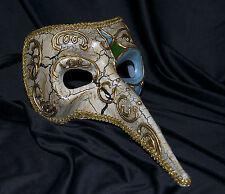 Mens Long Nose masquerade mask Halloween Venetian Mardi Gras Vintage Ivory Gold